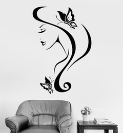 sexy decals wall art Coupons - Sexy Girl With Hair Wall Stickers Vinyl Wall Decal And Butterfly Spa Salon Decor New Arrivals Wall Tattoo Design Mural