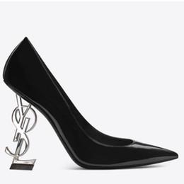Sapata do casamento do salto do metal on-line-Mulheres verão bombas de moda da marca estranha salto calcanhar super metal de salto alto patente original sexy ladies ol casamento boate sapatos de salto