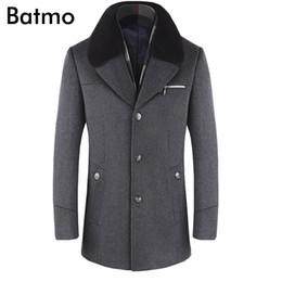 2019 бархатная мандарина с воротником BATMO 2019 новое прибытие зима высокое качество шерсти утолщенные пальто мужчины, мужские серые шерстяные куртки, плюс размер M-6XL, 1659 Y191119