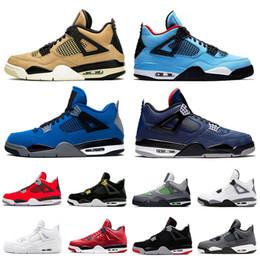 Neon jack on-line-2019 cool grey 4s nike air jordan 4 retro 4 Jumpman Nova Criados Fresco Cinza 4s Travis Scott x 4 Cacto Jack IV NEON Roxo Raptors FIBA Mens Sapatos Womens Sneakers 5-13