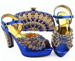 Bellissime décolleté da donna blu royal con grande cristallo e perline per scarpe africane abbinate set di borse QSL008, tacco 11,5 cm supplier big blue beads da grandi perline blu fornitori