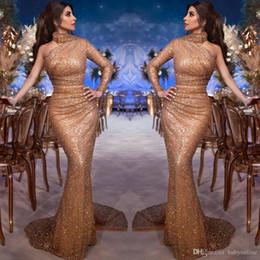 2019 myriam fares viste un hombro Arabia Saudí Myriam Fares Vestidos de noche elegantes con un hombro Sirena de cuello alto Manga larga con lentejuelas Vestidos de fiesta por la noche Vestidos de noche rebajas myriam fares viste un hombro