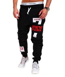 Männliche heiße hosen frei online-Fashion free hot Mens Casual Hosen Brief Drucken Jogginghose 2019 New Male Lace-up Lose Hüfthose Jogger Track Cotton Pants