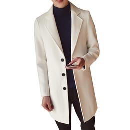 2019 panno per l'inverno Cappotto trench monopetto tinta unita da uomo moda inverno 2018 / cappotto lungo in panno lungo di lana casual casual maschile di grandi dimensioni sconti panno per l'inverno