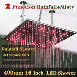 Ducha de hidromasaje online-2 Funciones Baño Hydro Power LED Ducha de Lujo 400x400mm 304 Techo de Acero Inoxidable Big Rain Shower Head Con Brazos
