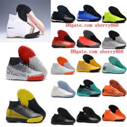 Tf zapatos de futbol online-Zapatillas de fútbol originales 2018 para hombre Mercurial SuperflyX VI CR7 Neymar Elite TF zapatos de fútbol Mercurial Superfly turf botas de fútbol baratas nuevas