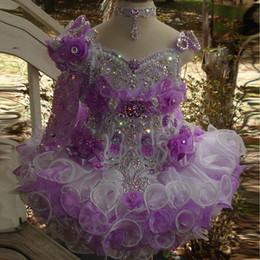 2019 niñas de un hombro vestidos Lujo Encantador collar de un hombro con cuentas hecho a mano vestido de bola de la magdalena niño pequeño niñas desfile vestidos de niñas de flores para bodas niñas de un hombro vestidos baratos