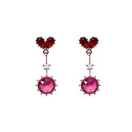 La moda coreana ciondola gli orecchini online-Delicato orecchini cuore rosso per le donne rosa rotonda di cristallo ciondola l'orecchino femmina 2019 gioielli di moda semplice orecchini coreano regalo