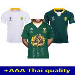 Assinatura Edição Comemorativa 2019 Copa do Mundo África do Sul Premiers de rugby Jersey equipa nacional África do Sul camisa de rugby de Fornecedores de jérsei de rugby azul amarelo