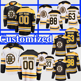 Camisa do hóquei rask on-line-Personalize 2019 Stanley Cup Finals Boston Bruins Jersey 37 Patrice Bergeron Zdeno Chara Brad Marchand Rask Pastrnak Krug Hockey Jersey