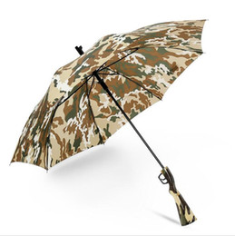 2021 dobrar os peixes Camouflage Umbrella Survival 98k Long Handle Umbrellas Semiautomatic Folding Sunscreen Fishing Hiking Umbrella Gun Handle Umbrellas GGA2449