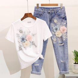 Le donne si adattano all'estate online-Amolapha donne pesanti lavori di ricamo del fiore 3D magliette + jeans 2pcs Set di abbigliamento Abiti casual estate