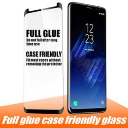 Ohne kleber online-Case friendly glass für samsung s9 note 9 5d vollkleber displayschutzfolie gehärtetes glas für samsung s8 s8 plus note 8 s7 edge ohne box