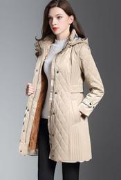 Ajustement en Ligne-NOUVEAU 2019! Manteau matelassé en coton de taille moyenne pour le milieu des femmes en Angleterre / marque designer manteau d'hiver de haute qualité slim fit pour les femmes taille S-XXL