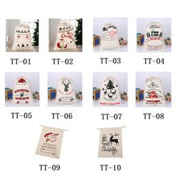 Sacchetto del regalo di Natale Grande Orgainic pesanti borsa di tela di Santa Sack sacchetta con le renne sacchetti di caramelle per i bambini 10 stili 08 da trasporto di goccia della mela fornitori