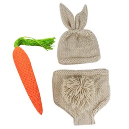 Carrot Toy Beige puseky Newborn Baby Photography Props Infant Boy Girl Knit Rabbit Photo Outfits
