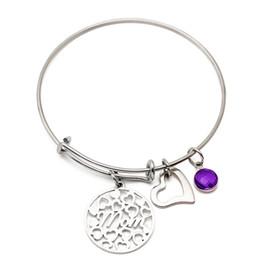 i compleanni di giugno Sconti fascino caldo di vendita 12 mesi di febbraio Giugno Maggio filo regolabile Bracciale di compleanno Pietre fascino del braccialetto dei braccialetti con il contenitore di regali