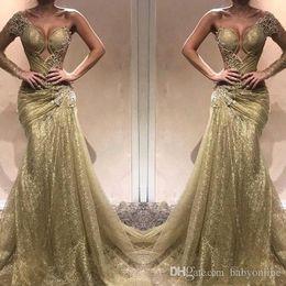 berühmtheit, die ein schulterkleid trägt Rabatt Elegant Eine Schulter Spitze Meerjungfrau Abendkleider Liebsten Illusion Applique Lange Formale Celebrity Kleider Prom Kleid Trägt BC0750