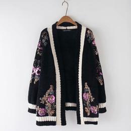 Grandes suéteres de punto online-Bordado chaqueta de punto larga mujer francesa casuales suéteres de punto 2019 primavera otoño Vintage tamaño grande suelta capa de suéter de punto