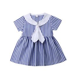 Argentina Breve niños vestido de las muchachas del bebé lazo rayado Sailor Collar vestidos fiesta princesa verano Sundress 1-6Y supplier summer sailor dress Suministro