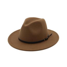 Унисекс фетра онлайн-Старинные унисекс Мужчины Женщины фетровая шляпа широкими полями фетровая шляпа фетровая шляпа Панама чистый цвет гангстер Cap Джаз шляпа для Femme MNDJS015 D19011102