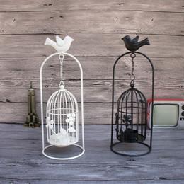 Argentina Creativos mentales jaula de pájaros candelabros candelero titular de la vela de la vendimia titular de candelabro de hierro para bodas decoraciones caseras lámparas de aroma pastoral Suministro