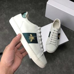 tiger print sneakers Promo Codes - New Designer shoes 100% Ace leather sneaker men women Classic trainers python tiger bee Flower Embroidered Cock Love sneakers