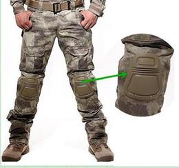 Joelho pad carga calças on-line-Camuflagem calças militares calças nós calças do exército táticos camo carga calças dos homens de carga largas com joelheiras