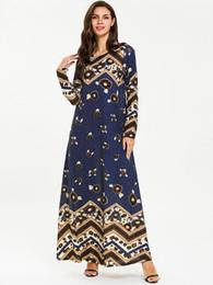 Abayas Женщины Исламская Одежда Мусульманские Плюс Размер Свободные Печатные Длинные Макси Этническом Стиле Драпированные Платья Рамадан Платье Новое Лето 2019 от