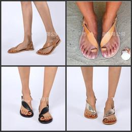 Wholesale Beach Open Toe Shoes Donna Uomo Universal Holiday Black Brown Sandali argentati Traspirante Simple Fashion Soft Flattie comoda hmD1
