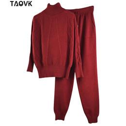 Frauen s kaschmir trainingsanzug online-TAOVK Frauen Woolen und Cashmere Strickanzug Rollkragenpullover und Hosen Loose Style Trainingsanzug Zweiteiliges Set stricken
