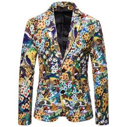 Vestiti unici adatti online-2020 Vestiti del fiore di modo unici per gli uomini Blazer disegni slim fit di lusso del rivestimento unico stadio costumi del cappotto vestito casuale Suit