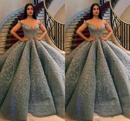 corsé v Rebajas 2019 moda corsé vestidos de fiesta grises fuera del hombro apliques de encaje con cuentas vestidos de fiesta formales vestido de bola vestidos de noche más tamaño