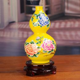 SPEDIZIONE GRATUITA Ceramica Jingdezhen vasi in oro giallo zucca peonia casa decorare nuovi articoli di arredamento per la casa cheap yellow vases da vasi gialli fornitori