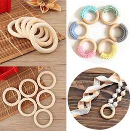 Натуральные прорезывающие кольца онлайн-70mm Baby Wooden Teething Rings Bracelet DIY Crafts Natural New Round  Connectors Circles Rings Wooden Round Kids Baby Toy