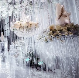 Decorazioni di tende diamanti online-30meter ghirlanda filo diamantato trasparente cristallo acrilico 10mm catena perline fai da te decorazioni per feste tenda di nozze forniture