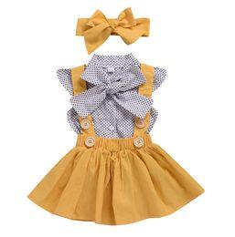 pajarita punteada polca Rebajas Niñas bebés lunares Bows tie falbala camisa de manga mosca + liga falda plisada + arcos diademas 3pcs conjuntos verano niños princesa trajes F2970