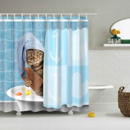 2019 rideaux design personnalisé NOUVEAU Design Chat dans le bain Poliban Custom Design Creative rideau de douche Salle de bain en tissu imperméable polyester rideaux design personnalisé pas cher