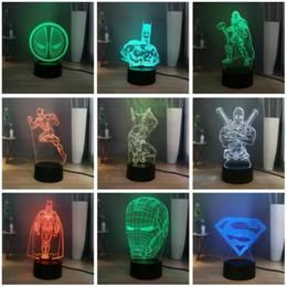 Железные аккумуляторы онлайн-Marvel DC легенда супер герой Железный Человек Человек-Паук Дэдпул Бэтмен Халк светодиодный ночник USB / батарея 7color изменение светодиодная настольная лампа Настольная лампа подарок