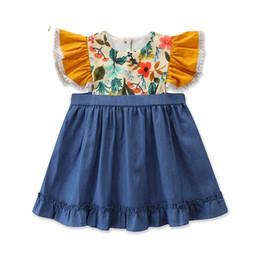 Ins летние цветочные платья для девочек платья для девочек милые детские одежды для девочек дизайнерские одежды малыша одежда для девочек A6754 от