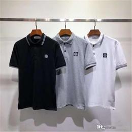 Europäische polohemden online-19FW europäischen und amerikanischen Grund Polo Kurzarm T-Shirt. Männer und Frauen quadratischen Kragen Freizeitsport T-Shirt Großhandel