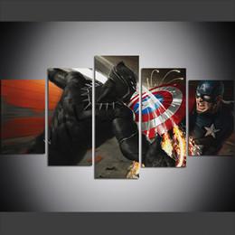 wüstenmalereien Rabatt 5 Stück Große Größe Leinwand Wandkunst Bilder Kreative Captain America Vs Black Panther Kunst Druckölgemälde für Wohnzimmer