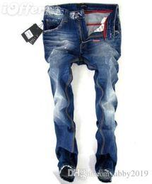 2019 jeans vert foncé hommes Jeans de cycliste en détresse déchiré pour hommes de mode Slim Fit moto Biker Denim designer de mode pantalon Hip Hop Mens Jeans D2-23