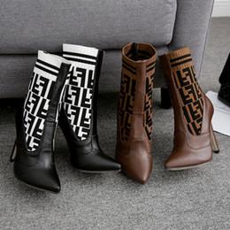 2019 chaussures talons amérique Nouvelle mode Europe et Amérique F lettre laine tricotée chaussettes en tissu élastique chaussures couleur tube moyen chaussures à talons hauts chaussures talons amérique pas cher
