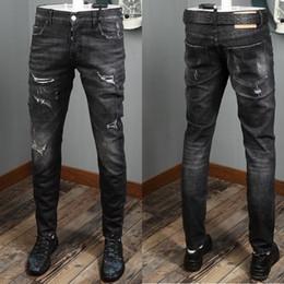 taste schließen Rabatt Cool Man Destroyed Schwarze Jeans Skater Fit Fading Effect Button Close Damage Wash Denim Hose für Herren