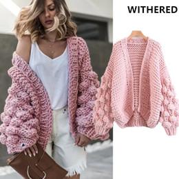 Tops tejido a mano online-Rebeca marchita chaqueta gruesa para mujer blogger de moda para mujer bola tejida a mano sólida casaco feminino jaqueta feminina tops