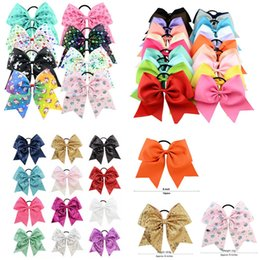 8 pulgadas Jojo Cheer Hair Bows Unicorn Cheer Bow Jojo Style Paint Drips Impresiones Grosgrain Hairbands Holográfico Mermaid Pastel Unicorn Hairbows desde fabricantes