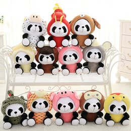 china doll christmas Coupons - 20cm Panda Plush Toys 12 China Zodiac Dolls Lovely Colorful Panda Dolls Toys Children Birthday Creative Gifts Home Decoration L146