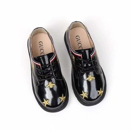 girls dress shoe flat size Promo Codes - Black kd shoe fashion flat leather school athletic sneakers Star design for child baby dress little girl walking toddlers