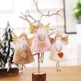 kinder weihnachten ornamente Rabatt Weihnachtsnette Engel Plüsch-Puppe Ornamente Weihnachtsbaum-Anhänger-Partei-Dekorationen für Haus-Kind-Geschenk